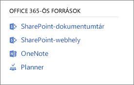 Képernyőkép az Office 365-erőforrásokról