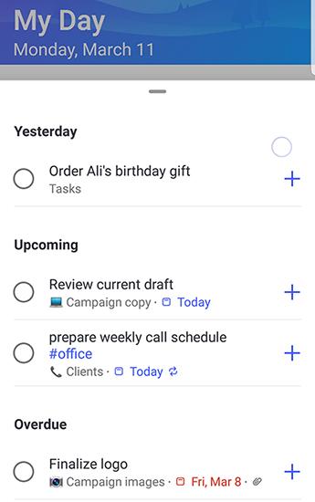 Képernyőkép: a to-do Android rendszerhez készült javaslatok teljes egészében meg vannak nyitva, és a tegnap, a közelgő és a lejártak szerint csoportosított javaslatok.