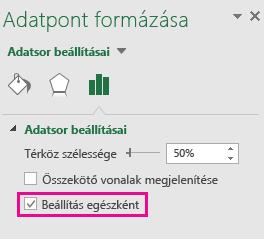Az Adatpont formázása munkaablak a bejelölt Beállítás összesített értékként jelölőnégyzettel a Windows Office2016-ban