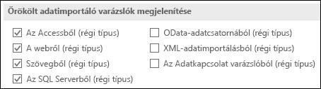A beolvasás és átalakítás régi varázsló lap a fájl > Beállítások > adatok.