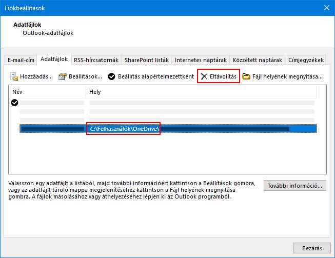 Az Outlook-adatfájlok párbeszédpanel