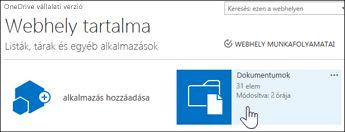 A Dokumentumok lehetőség kiválasztása a Webhely tartalma lapon
