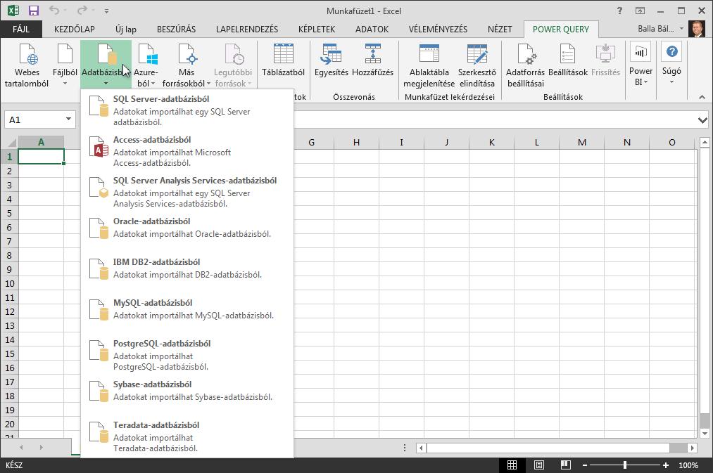 Külső adatok importálása adatbázisból