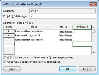 A WBS-kód definiálása párbeszédpanel képe