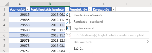 Rendezés növekvő vagy csökkenő sorrendbe az Excel táblázat szűrőjével