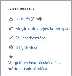 A rendszergazdák által fájllal használható műveletek listája