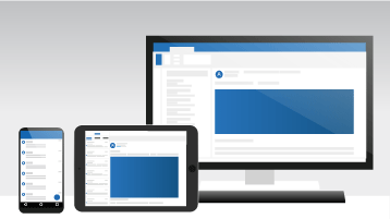 Outlookot megjelenítő számítógép, táblagép és telefon