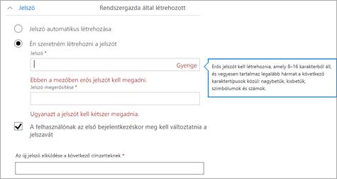 A felhasználónak kezdeti jelszó létrehozásakor megjelenő jelszókövetelmények