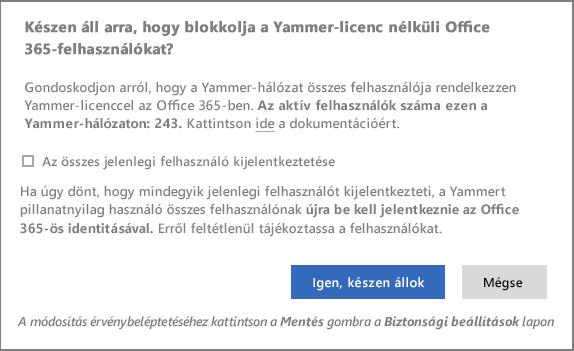 Képernyőkép a Yammer-licenccel nem rendelkező felhasználók letiltásának elkezdését megerősítő párbeszédpanelről