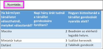 Felmérésben szereplő kérdések és válaszok nyomtatási