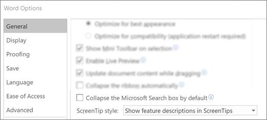 A fájl > beállításai párbeszédpanel, amelyen a Microsoft keresőmező alapértelmezés szerint be van csukva.