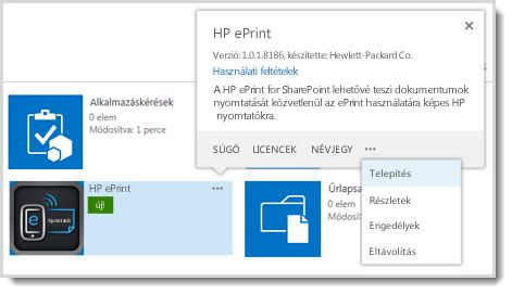 A Telepítés parancs az alkalmazáskatalógus-webhelyen lévő alkalmazások tulajdonságokat megjelenítő előugró panelén található.