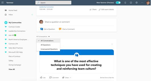 Képernyőkép a Yammer-beszélgetések szűréséről