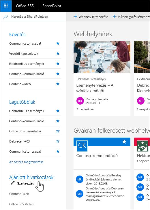 A SharePoint online a Kezdőlap lapon a Hivatkozások lista