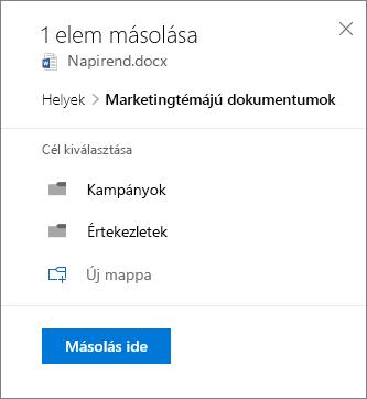 Képernyőkép egy hely kiválasztásáról fájl másolásakor a SharePointba