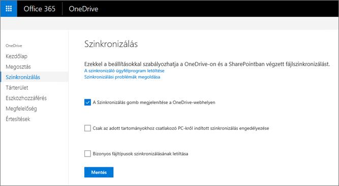 A Szinkronizálás lap a OneDrive Felügyeleti központban