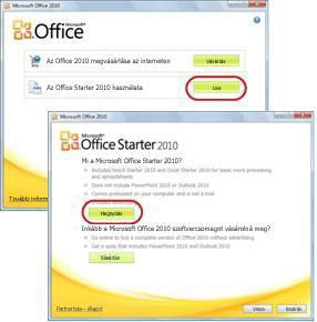 Az Office Starter első használata