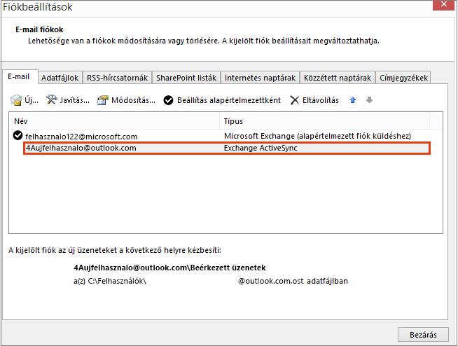 Outlook – Fiókbeállítások, E-mail-fiókok