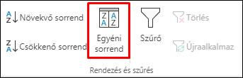 Az Excel egyéni rendezési beállításai az Adatok lapról