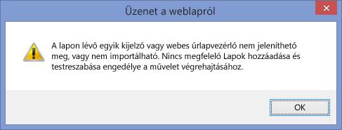 Parancsfájlok webhelyen vagy webhelycsoporton való letiltása esetén megjelenő hibaüzenet