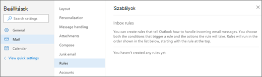 Képernyőkép a szabályok lap levelek Outlook.com-beállításai jeleníti meg.