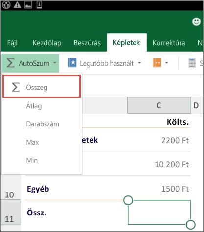 Menüszalag elérésének menüje az Android Excelben