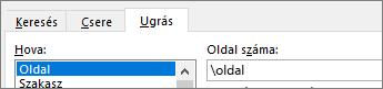 Az Ugrás paranccsal válassza ki az oldalszámot.