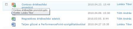 A kivett fájl ikon alatt megjelenő elemleírás. Lehetővé teszi, hogy a felhasználó tudja a fájlnevet, és ki vette ki.