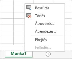 Képernyőkép az egyik munkalapfülre a jobb gombbal kattintva megjeleníthető menüről, a lap beszúrására, törlésére, átnevezésére, átrendezésére, elrejtésére és megjelenítésére szolgáló beállításokkal