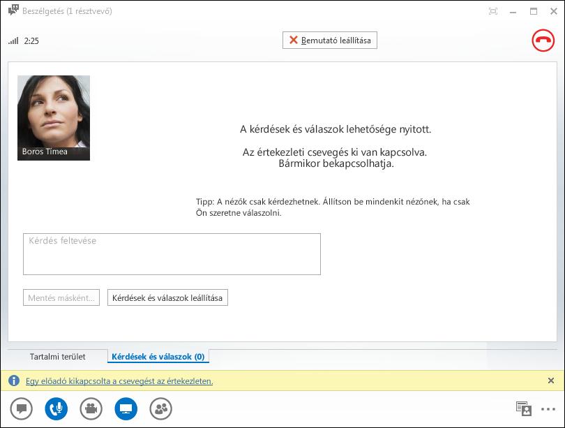 Képernyőkép: a Kérdések és válaszok kezelőjének ablaka