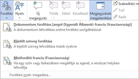 Egy dokumentum vagy üzenet fordítása