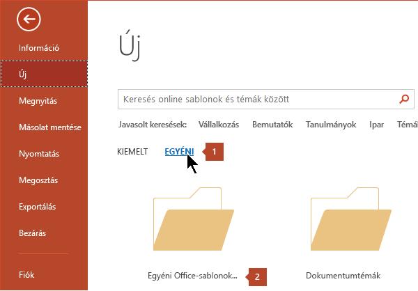 A fájl > új, kattintson az egyéni, majd az egyéni Office-sablonok.