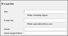 Az Exchange-fiók e-mail-címének és jelszavának megadása