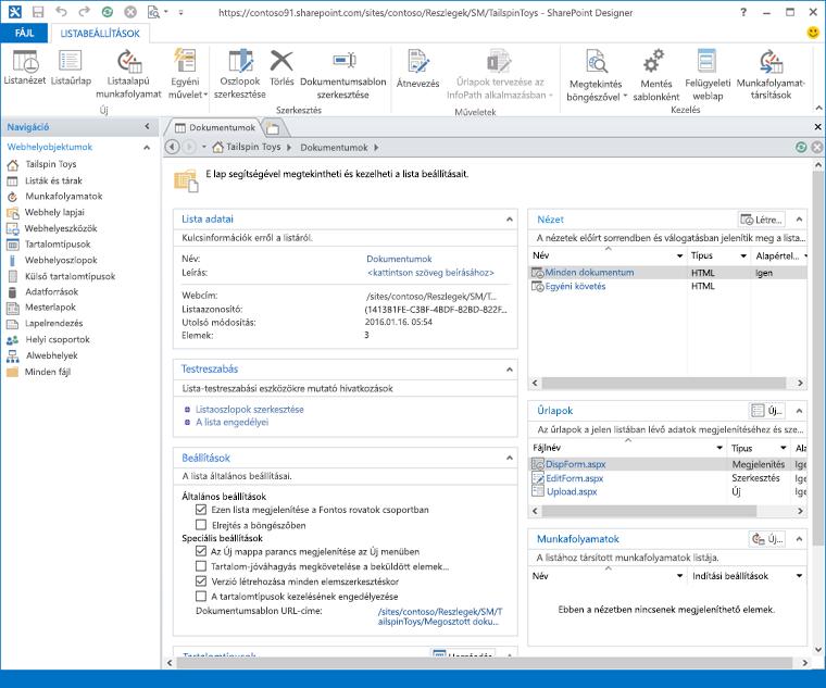 A SharePoint Designer 2013 előlapjának képe.
