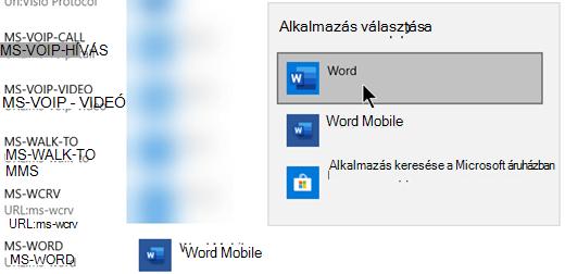 Váltson a Word Mobile-ról a Wordre a webes sablonokat megnyitó protokollhoz.