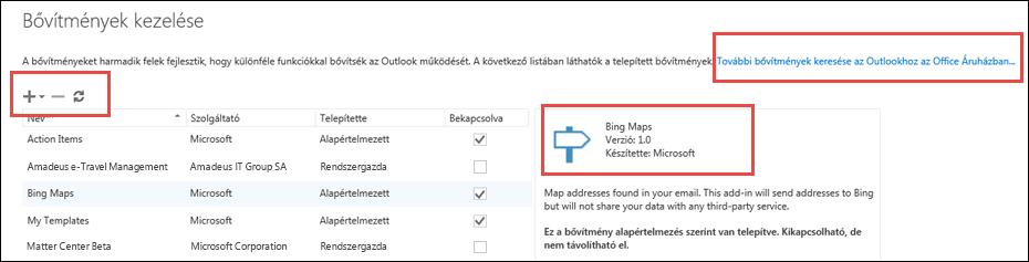 Bővítmények kezelése az Outlookban