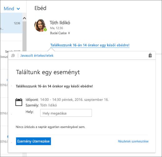 Kép egy értekezletről szóló szöveget tartalmazó e-mailről, amelyben a Javasolt értekezletek kártya látható az értekezlet részleteivel, illetve az értekezlet ütemezési és szerkesztési lehetőségeivel