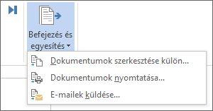 Képernyőkép a Word Levelezés lapjáról, amelyen a Befejezés és egyesítés parancs van kiemelve.