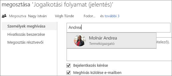 Képernyőkép egy fájl OneDrive Vállalati verzióban való megosztásáról