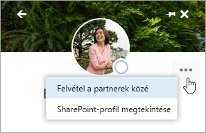 Képernyőkép, amelyen a kurzor a További tevékenységek menü Felvétel a partnerek közé parancsára mutat.