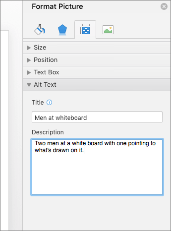 Képernyőkép a kijelölt képet leíró Helyettesítő szöveg mezőket tartalmazó Kép formázása munkaablakról
