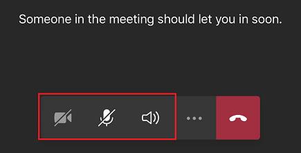 Az értekezlet előszobája a megjelenített értekezlet-vezérlőelemekkel