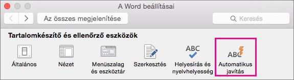 Az automatikus javítás beállításainak módosításához a Word-beállítások lapon kattintson az Automatikus javítás lehetőségre.