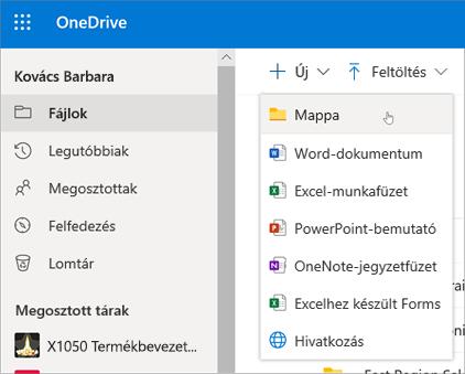 A OneDrive Mappa létrehozása eleme