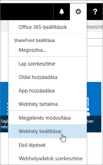 Webhely beállításai legördülő lista