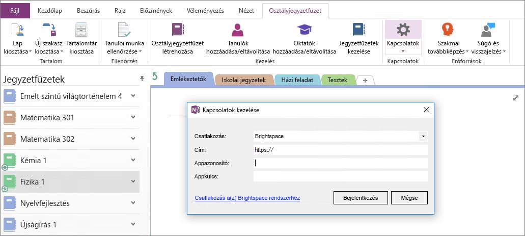Képernyőkép a kapcsolatok párbeszédpanel a OneNote Osztályjegyzetfüzet beépülő modul a csoportházirend-nincs beállítva.