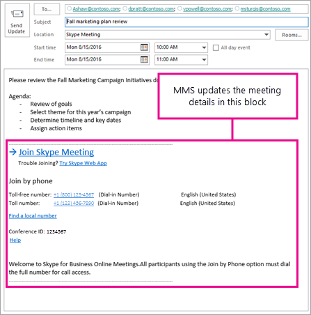 Az értekezlet blokk, amely szerint MMS frissítik