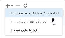 Képernyőkép a Bővítmények kezelése eszköztáron elérhető beállításokról, köztük a Hozzáadás, a törlés és a frissítés elemre. Megjelenik a Hozzáadás lapon látható beállítások, amelyek tartalmazzák az Office áruház hozzáadását, az URL-címről való felvételt és a fájlok hozzáadását.