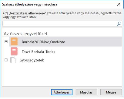 A Windows 2016 OneNote Szakasz áthelyezése vagy másolása párbeszédpanelje
