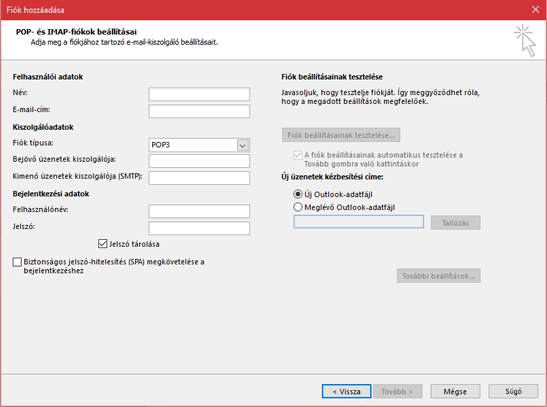 A POP- vagy IMAP-kiszolgáló adatainak megadása